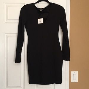 Black V neck form fitting cotton dress NWT